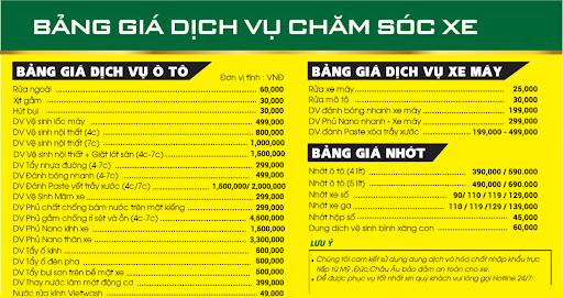 Bảng giá dịch vụ rửa xe cơ bản