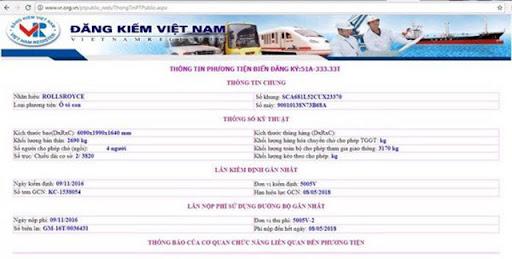Tra cứu phương tiện vi phạm giao thông trên Cục đăng kiểm Việt Nam